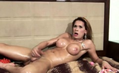 Bigtitted tranny spreads big ass and jerks off till cumshot