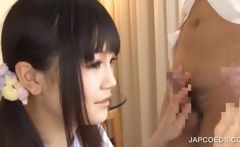 Blowjob on knees with asian teen