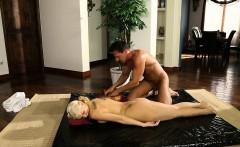 Busty blonde client Kenzie Taylor anal fucked by her masseur
