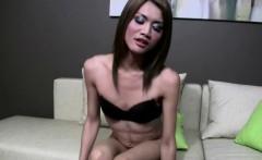 Ladyboy in pantyhose is training her blowjob skills