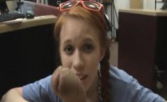 Dolly Little pawn shop backroom blowjob