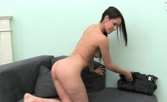 Hottie gives a spectacular dildo sucking experience