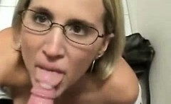 Sexy MILF in eyeglasses requires and hits a cosmetic