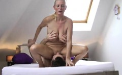 Buxom blonde cougar Tina gets her shaved peach eaten out on