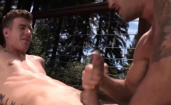 JJ sinks to his knees and expertly sucks on Wesleys big dick
