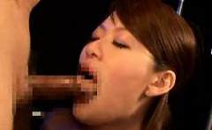 Submissive Oriental lady gets tied up and deepthroats a rag