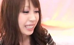 Dazzling Asian girl watches a horny guy slowly jerking his
