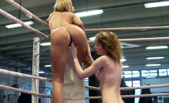 Euro dykes wrestling and licking each other