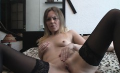 Filly in black stockings shows off her cunny