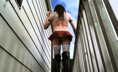 Crossdressing as college gurl on terrace that is outside