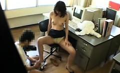 Sexy slim Oriental secretary has fun with a horny guy in th