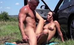 Slutty Angelina Wild fucked in the car