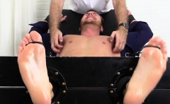 Cute hunk Frey gets his body and feet tickled hard by friend