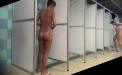 Hot soaping amateur girls in public shower