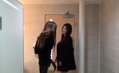 Asian babes filmed peeing