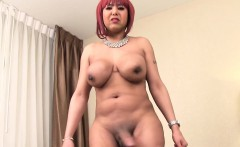 Ebony redhead trans with bigtits tugging solo