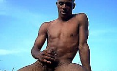 Gay black stud masturbating solo