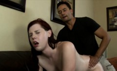 Redhead tgirl Chelsea Poe anal pounded bareback on the couch