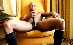 Sultry solo black hunk stroking his hard cock
