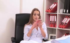 Lesbian female agent bangs cleaning lady