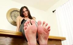 Foot loving debutante plays with her feet