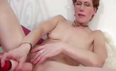 Pretty mom intense toy fucking