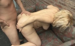 Marvelous blonde gets her pussy demolished outside