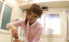 Needy oriental nurse removes undies for lewd patient