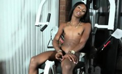Black transbabe jerks her cock after workout