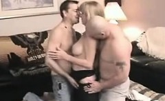 Threesome with a blonde nurse in white stockings