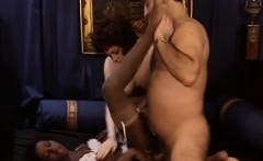 Horny man in a interracial threesome with two escort babes
