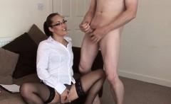 Spex domina sucking naked guys cock