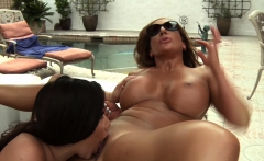 Richelle Ryan and Karlee Grey scissoring by the pool side