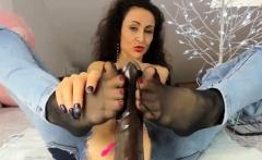 Horny brunette amateur with foot fetish sucks guys toe