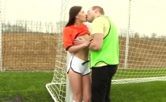 Amateur teen gang bang Dutch football player drilled by phot