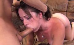 Teen slut chokes on his cock until he cums