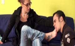 Girls order men to lick their feet