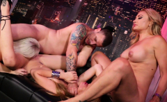 Crazy 4-way With Girls Lucky Guy Concluded With A Creampie