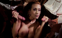 Hot babe gets gangbanged by horny studs
