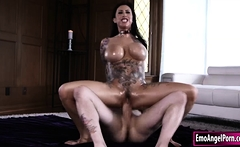 Ink goth babe gets her pussy oiled and fucked by big cock