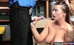 Sexy Dakota bent over and gets banged