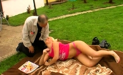 Aged man gets treated nicely by a much younger whore