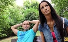 HUNT4K. Cuckold watches how his girlfriend fucks for money..