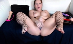 Busty BBW MILF With Stockings Uses Some Toys