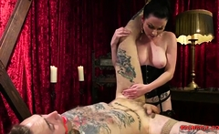Horny mistress playing with her boy toy