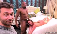 Behind the scene brunette sucks big dick