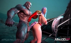 Superhero 3d animation with a big tits beauty