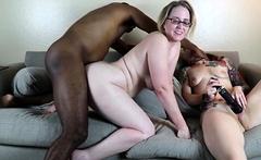 Sexy white tattooed girl masturbates while her glasses girl