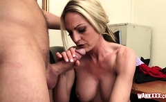 Blonde MILF with big tits loves big cock