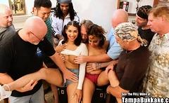 Kitty Titties and Mya Small Titties Latina Gangbang